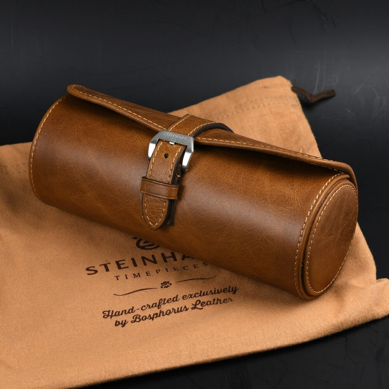Leather roll brown for three watches