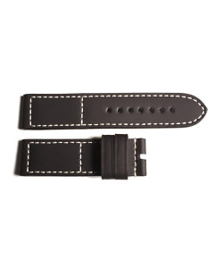 Leather Strap black-white with rubber coating, size L