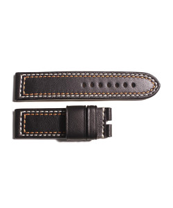 Leather Strap black with contrast stitching white/orange, size M