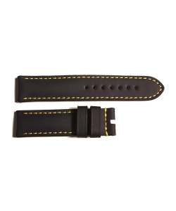 Rubber strap black for Ocean 2, size M, yellow stitching