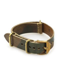 Nato Leather Strap brown Camouflage with bronze buckle