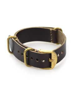Nato Leather Strap brown with bronze buckle