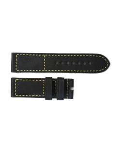 Rubber strap black with yellow stitching size M