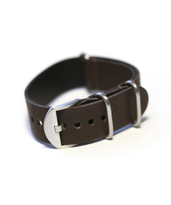 Nato Leather Strap darkbrown