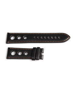 Racing strap black with contrast stitching orange, size M