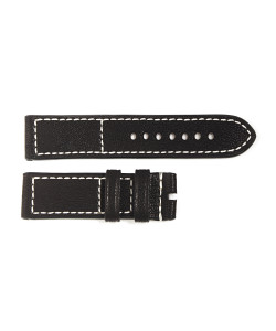 Strap black old vintage, white stitching, size M