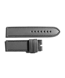 Leather strap grey with black stitching size M