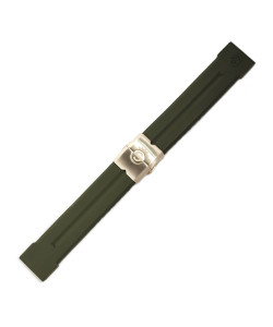 Rubber strap 24 mm green with deployment clasp bronze