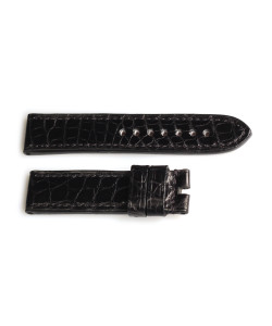 Strap handmade Lousiana Alligator Size S with black Stitches
