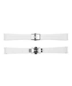 Rubber strap new 20x16 mm for Ocean 39 white with clasp steel